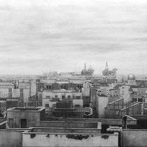 """""""Cuádrigas sobre Madrid / Chariots over Madrid"""" Grafito sobre tabla / Graphite on board. 2014. 52,8x160 cm. Colección particular."""