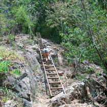 Escaleras para bajar al río
