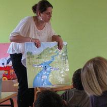 Atelier moulins : présentation de la rivière (vocabulaire, activités) à l'aide d'un panneau évolutif