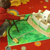 Atelier château : construction d'une maquette de site castral avec château (vocabulaire : donjon, remparts...), routes et village autour