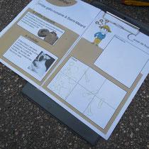 Atelier archéologie : livret individuel à compléter - ici, la partie relevé de fouille et analyse
