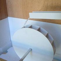 Ateliers moulins : maquette de roue (3 types différents : à augets comme ici, à aubes ou à cuillers)