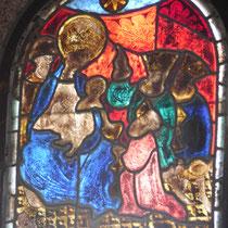 Vitrail (vers 1400) - L'Adoration des Mages - Eglise d'Augne