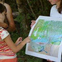 Balade Zoom rivière : découverte de l'écosystème de la rivière grâce au panneau évolutif