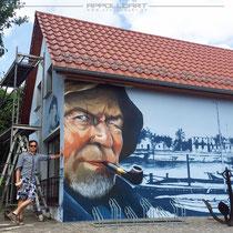 Graffitiauftrag bei einem Fischer mit Ostsee Motiven
