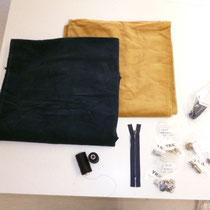 Alle Zustaten für die Herstellung der Hose und Vergleich des beigen mit unserem nachgefärbten blauen Cordstoff.
