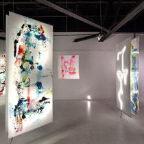 © Joana Fischer, Zeitgeist, dimensions variable, ink and acrylic on drafting film, LED backlight, installation view