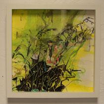 "© Joana Bruessow, MIA-MS II, 12"" x 12"", ink on paper, paper collage, 2012"