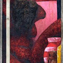 Angelo Petrucci, Senza titolo, 2011, olio e legno su tela, 140x93 cm