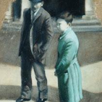 Angela Keller, Il vecchio e il giovane, 2001, strato di gesso e cenere, olio su iuta, 52x70 cm