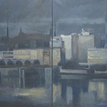 Lorenzo Curioni, Degrado urbano II, 2010, olio su tela, 240x11 cm