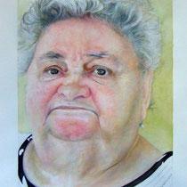 Vittorio Pasotti, Nonna, acquerello e pastello, 34,5x26 cm