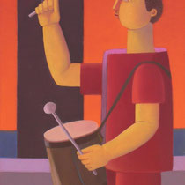 Domenico Lasala, Suonatore di tamburo, 2011, olio su tela, 30x40 cm