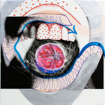 Milena Pedrollo, Caramella, 2010,  tecnica mista, acrilico e stampa digitale su acetato incollata su tela, 30x30 cm