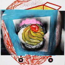 Milena Pedrollo, Pasticcino, 2010, tecnica mista, acrilico e stampa digitale su acetato incollata su tela, 30x30 cm
