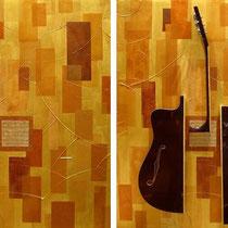 Fabrizio Trotta, Solenne, 2010, tecnica mista, sezioni di chitarra, calamite, lamiera zincata su tela, 80x100 cm