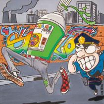 Guardia&Ladri, Guarda&Ridi, acrilico su tela, 40x40cm,novembre 2011