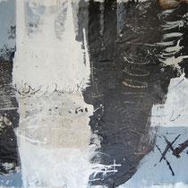 Kay Pasero, Matter & Soul II, crilico, sabbia, bitume su lino grezzo, 200x140 cm
