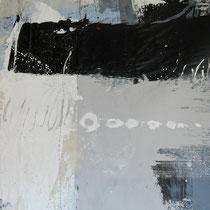 Kay Pasero, Matter & Soul III, acrilico, sabbia, bitume su lino grezzo, 200x140 cm