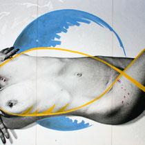 Milena Pedrollo, Il pesce (trittico), 2010, stampa digitale su tela e smalto all'acqua, 180x110 cm