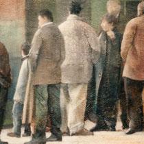 Angela Keller, Gente di Cossano, 2003, strato di gesso e cenere, olio su iuta, 124x95 cm