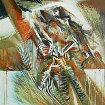 Michele Recluta, Roccia multiforme, 2010, tecnica mista su tela, 90x80 cm