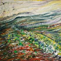 Sonia Zaffoni, Vento nei campi, 2005, acrilico su tavola, 80x70,5 cm