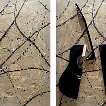 Fabrizio Trotta, Allegro moderato, 2010, tecnica mista, sezioni di chitarra, armonica, calamite, lamiera zincata su tela, 70x100 cm