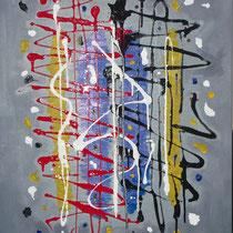 Roberto Fruggeri, Caos mentale, 2011, acrilico su tela, 100x70 cm