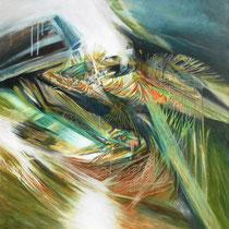 Michele Recluta, Nidi di speranza in tempi di segni e sogni morenti, 2010,  tecnica mista su tela, 90x90 cm