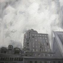 Lorenzo Curioni, Strutture urbane III, 2012, olio su tela, 75x85 cm