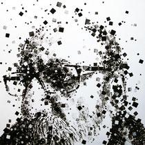 Paolo Facchinetti, Autoritratto 2011, tecnica mista su tavola, 85x85 cm