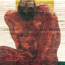 Angelo Petrucci, Figura accovacciata, 2011, smalto e olio su listelli di legno grezzo, 100x100 cm