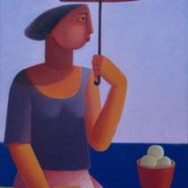 Domenico Lasala, L'ombrello rosso, 2011, olio su tela, 30x40 cm