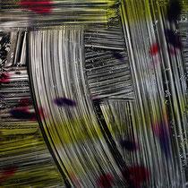 Paolo Facchinetti, Astratto 428, 2011, tecnica mista su alluminio, 100x100 cm