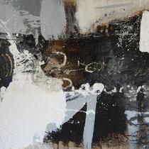 Kay Pasero, Matter & Soul I, acrilico, sabbia, bitume su lino grezzo, 220x135 cm