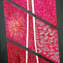 Roberto Fruggeri, Dalla finestra, 2011, tecnica mista: acrilico su tela e sabbia quartzifera, 70 x100 cm