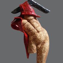 Nives Guazzarini, Appeso con camicia rossa, refrattario, 78x35 cm