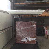 09 Schoorsteen aluminium  gezaagde steenstrips en platte schoorsteenkap Rijpma siersmederij