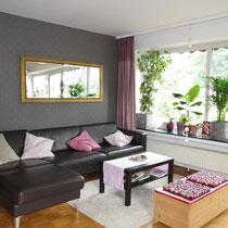 Messewohnungen in Hannover - Wohnzimmer mit Balkon einer Messewohnung über 4yourfairs