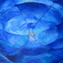 Lichtspiegelung auf Bronzeschale, wie ein Blick von außenauf unser blauen Planeten, Peter Diziol; 90x90 cm
