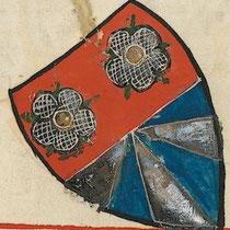 Wappen erstellen: Beispielhaftes Wappen von Albrecht von Johansdorf. Bildquelle:  Universität Heidelberg, Cod. Pal. germ. 848 Große Heidelberger Liederhandschrift (Codex Manesse) — Zürich, ca. 1300 bis ca. 1340, 179v. Public Domain.