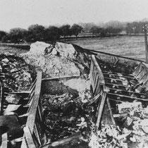 De vernietigde spoorbrug bij Ten Esschen