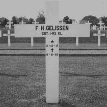 Frans Hendrik Gelissen (Heinie) .  Rang Sgt.1-RS  Overleden op 06-08-1946 te Semarang   Begraven op het Nederlands ereveld Candi te Semarang Indonesië