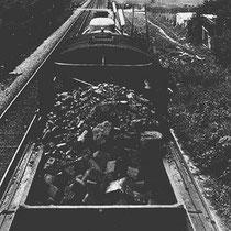 Uitzicht vanuit een remmershuisje op de locomotief