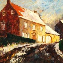 Jan Laeven (1925), olieverf op board, Winter, Achter de kerk te Nuth,