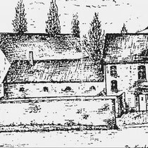 """Tegenover het NS station stond de kapitale hoeve """"De Nuinhof"""" ook wel """"Nieuwenhof"""" of """"Villa Nova"""" genoemd De witte boerderij en de muren met bogen omsloten het binnenplein. samen met het statige herenhuis en de hoge graanschuren"""