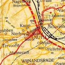 Kaart waar de autoweg nog is aageduid als nieuw aan te leggen weg.( rode onderbroken lijn)  (met zwembad in Vaesrade)