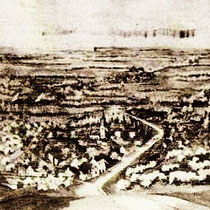 Panorama Vaesrade. wandschildering Wiel Paes