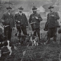 v.l.n.r.: Broger Johann, Steuble Emil, Klarer Jakob, Rusch J. B., Sutter Wilhelm (Förster), Fritsche Jos. (Gerbe)